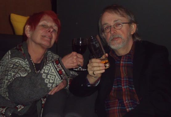 Nancy and Peter Lord raising a toast to Pirates.