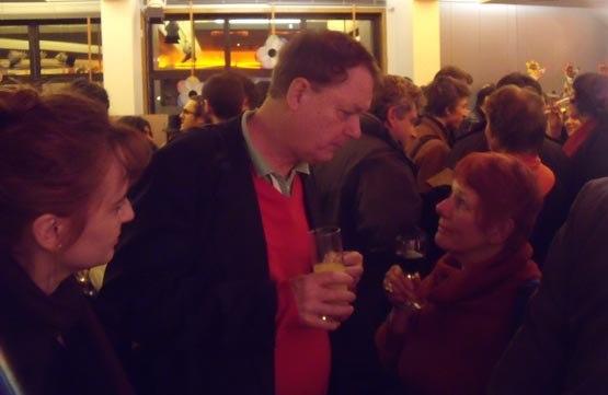 Bill Plympton and Nancy chatting on opening night.