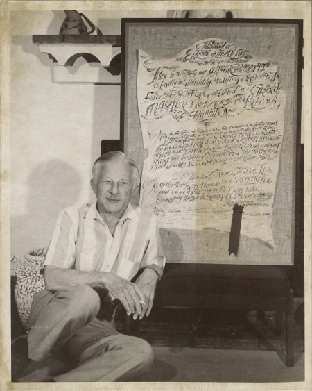 Babbitt with the hand-crafted certificate from the Richard Williams Studio, summer 1973.