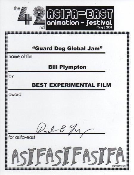 Guard Dog Global Jam - Best Experimental Film Award, ASIFA-EAST Animation Festival, May 1, 2011