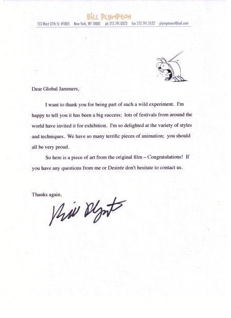 Bill Plympton's letter of appreciation to creators of Guard Dog Global Jam