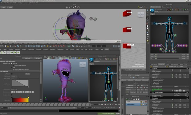 The new standardization of the HIK character picker is shown in both 2012 versions of MotionBuilder and Maya.