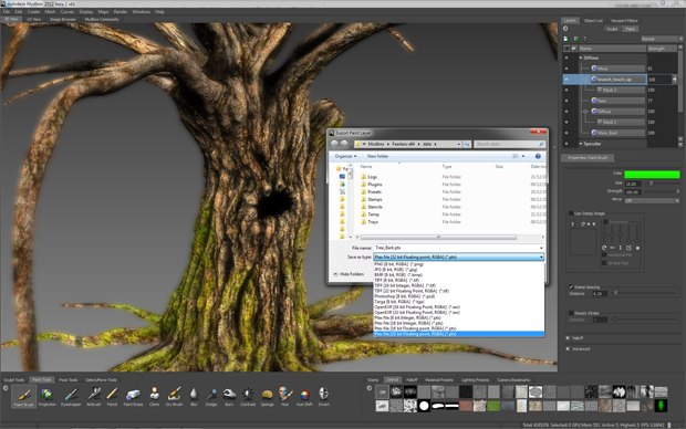 High-quality textures can be exported as Ptex files for a UV-less process in Mudbox 2012.