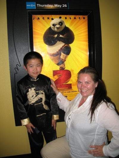Perry Chen with CNN producer Chris Morrow after Kung-Fu Panda 2 review/interview (photo by Zhu Shen)