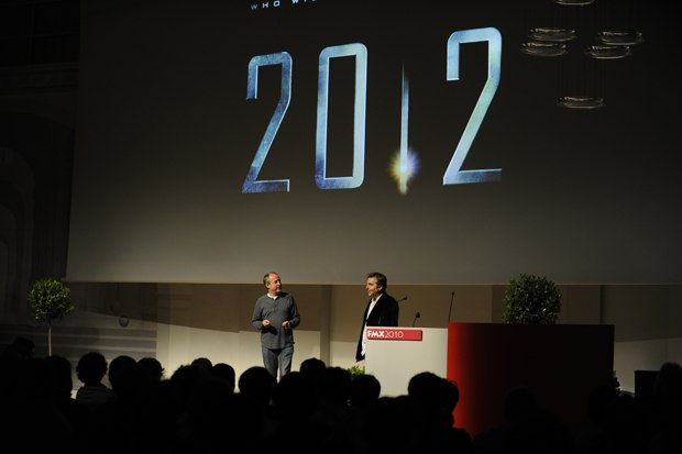 "Volker Engel and Marc Weigert give an entertaining presentation on ""2012."""