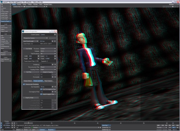 The Anaglyph Stereoscopic Viewport preview in LightWave 10.