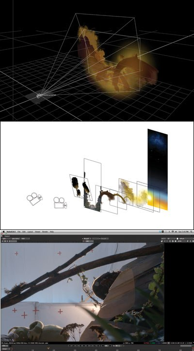 [Figure 9.45] 3D environment with some background elements for