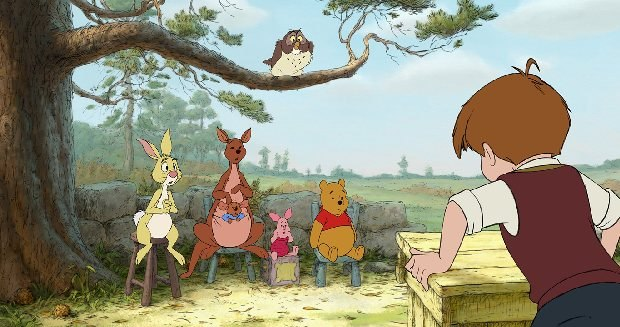 (L-R) Rabbit, Kanga, Roo, Piglet, Owl, Winnie the Pooh, Christopher Robin ©Disney Enterprises, Inc. All rights reserved.