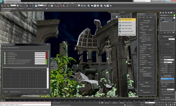 mRigids allows artists to create rigid-body simulations directly in the 3ds Max viewport.