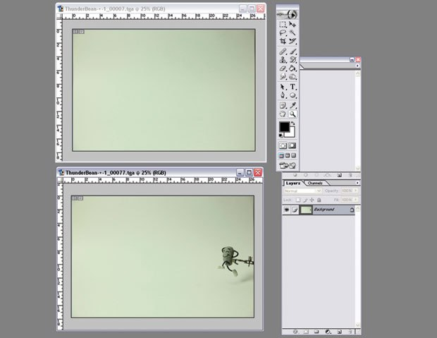 [Figure 9.54] Clean background plate and animation frame are both opened in Photoshop.