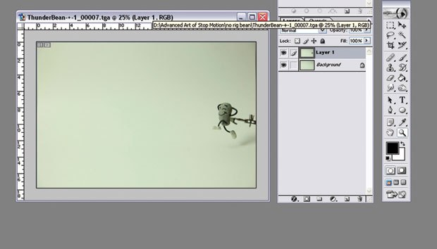 [Figure 9.55] The animation frame is pasted as a layer on top of the background plate.
