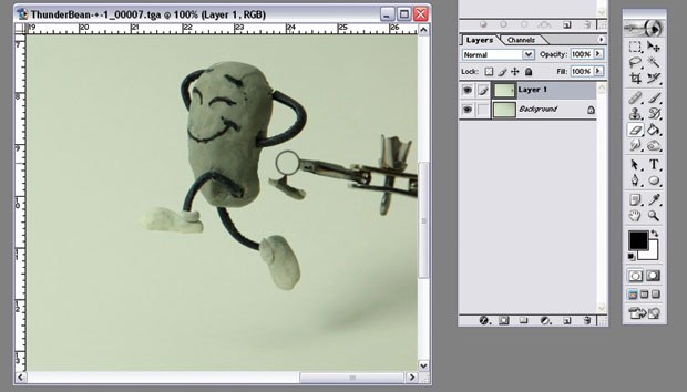 [Figure 9.56] The rig is erased from the animation layer, showing the background plate underneath.