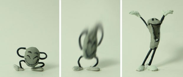 [Figure 9.62] Three frames from the ThunderBean Animation logo sequence, with the middle frame blurred using Photoshop's smudge tool.