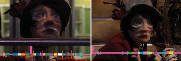 [Figure 9.66] Still images of Madame Tutli-Putli's puppet animation, with the Wunderbar timeline. (Courtesy of Jason Walker.)