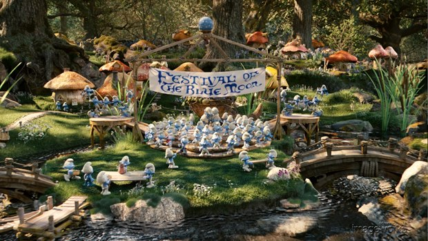 The Smurf village is all CG. Check out this vfx breakdown.