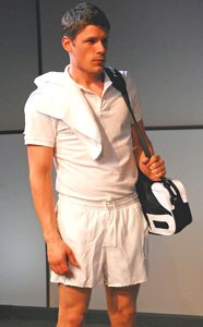 Matt as a Romanian tennis in the David Auburn's UPSET as reviewed by the NY Times