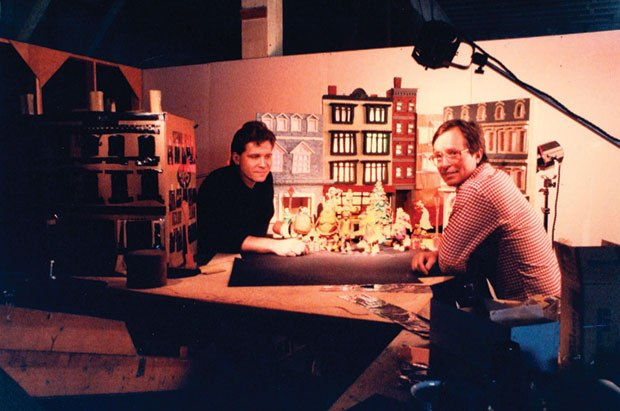 [Figure 10.3] Larry Bafia (left) with writer Ralph Liddle on A Claymation Christmas Celebration. (Courtesy of Larry Bafia/Will Vinton Productions.)