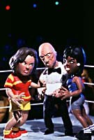 MTV is once again pushing the envelope of prime time animation with Celebrity Death Match., a clay animated show featuring caricatures of public personalities. Shown here: Rosie O'Donnell vs. Oprah Winfrey. © MTV.