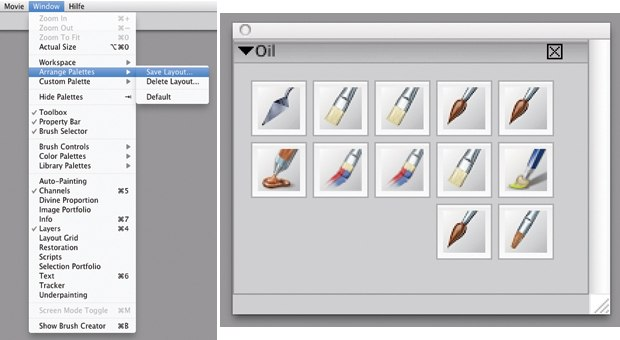 [Figure 11.16] Organize brush sets in Arrange Palettes.