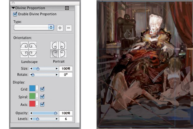 [Figure 11.2] Using the Divine Proportions tool to check the composition.