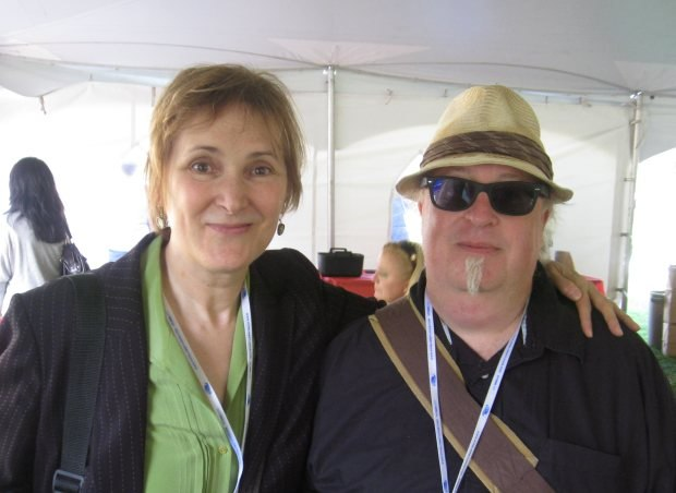 NFB producer Marcy Page with famous tenor saxophonist Tom Knott.