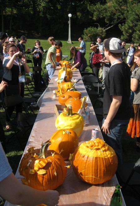 The assembled pumpkin carving contest entrants.