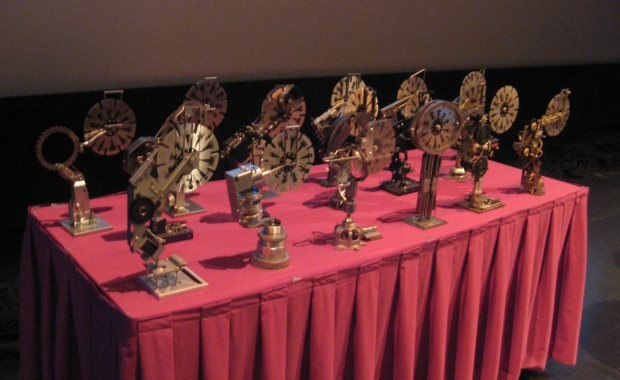 The awards table stands patiently in the background.