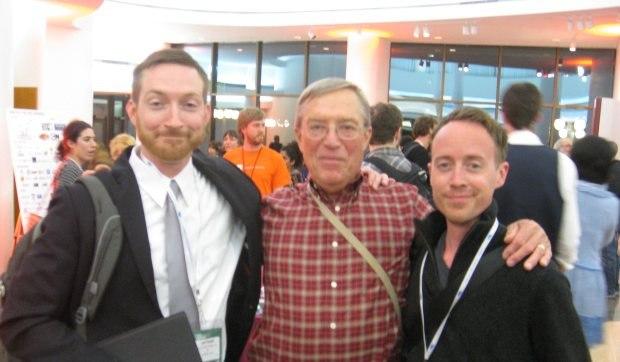 2 emcees, 1 dad - Joel Frenzer, Joel's dad Dave and Alan Foreman.