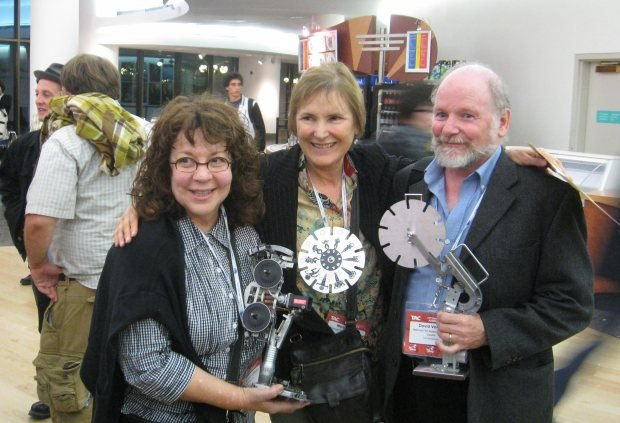 The NFB's Judith Gruber-Stitzer, Marcy Page and David Verral. Judith did music and Marcy produced on Amanda Forbis and Wendy Tilby's latest film, Wild Life, which won the award for Best Canadian Animation.