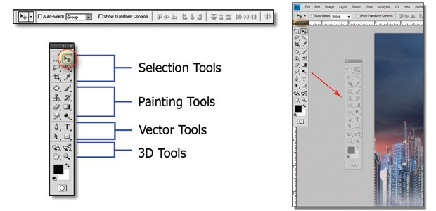 [Figure 1.11] View of each tool set and the double column toolbar mode.