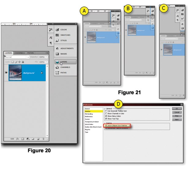 [Figure 1.20] CS4 palettes floating on the desktop.