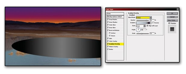 [Figure 5.14] Apply a gradient using the Layer Style dialog box.