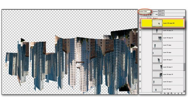 [Figure 5.22] Duplicate the architecture patterns and change the Blend mode to Darker Color.