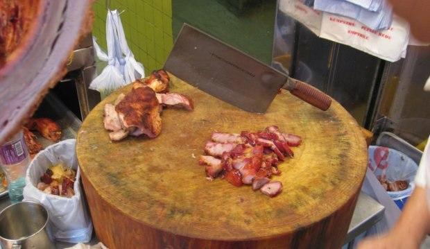 Tasty, fatty, sticky sweet char siu, or BBQ roast pork.