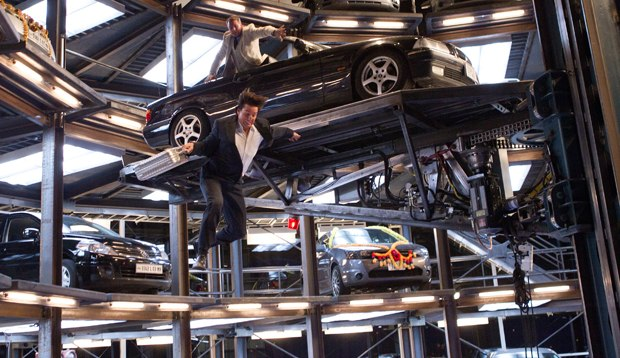 The film concludes with a thrilling chase through robotic parking garage.