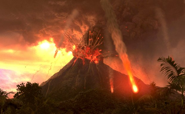 Lava from the volcano was created in Houdini.