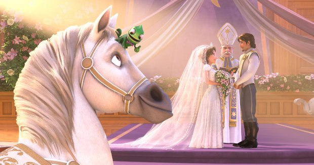 """TANGLED EVER AFTER"" PASCAL and MAXIMUS couldn't be happier to take part in RAPUNZEL and FLYNN'S spectacular wedding in Disney Animation's ""Tangled Ever After."" ©2011 Disney Enterprises, Inc. All Rights Reserved."