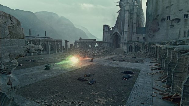 An all CG Hogwarts is one of the many vfx highlights of the Harry Potter finale. Image © 2011 Warner Bros. Ent. Harry Potter Publishing Rights © J.K.R. Harry Potter characters, names and related indicia are trademarks of and © Warner Bros. Ent. All Rights Reserved.