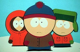 South Park's Kenny, Stan and Kyle. © Comedy