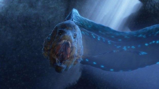 Pixomondo created a semi-bioluminescent, giant moray eel crossed with a dinosaur.