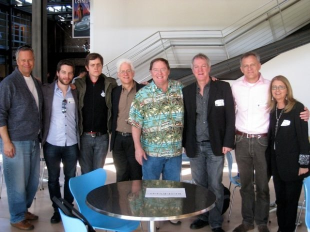 (From left to right) La Luna producer Kevin Reher, Patrick, Brandon, Ron, Pixar Chief Creative Office John Lasseter, Marc, Lampton and Bonnie.