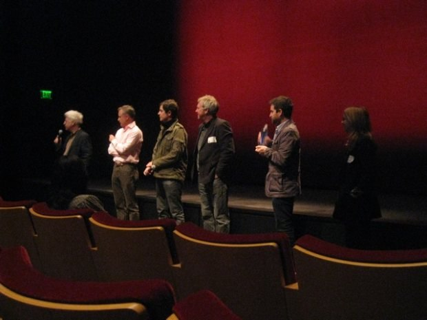 Fielding questions at the screening.