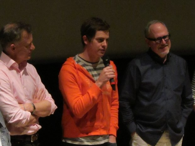 (From left to right) Morris Lessmore producer Lampton Enochs, directors Brandon Oldenburg and William Joyce field questions at DreamWorks Friday before their Oscar win.