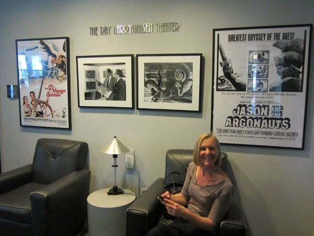 A Morning Stroll producer Sue Goffe sits in the lobby of the Ray Harryhausen Theatre on the Sony Pictures Animation lot.