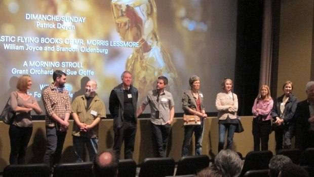Q&A following the screening. (From left to right) Sue Goffe, Grant Orchard, Michael Fukushima, Marc Bertrand, Patrick Doyon, Wendy Tilby, Amanda Forbis, Bonnie Thompson, Marcy Page and Ron Diamond.