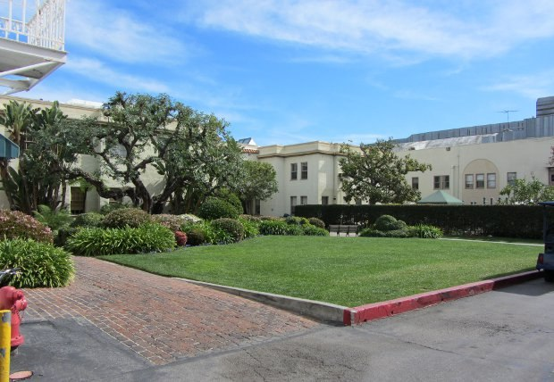 The old Desilu Studios are housed on the lot, built by Lucille Ball and her then husband Desi Arnaz. An astute business-woman as well as comedic genius, Lucy had this area built to resemble her own backyard, since she was always in her adjacent office.