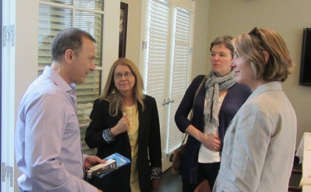 Paramount Animation Exec VP Bob Bacon talks with, from left to right, Bonnie Thompson, Amanda Forbis and Wendy Tilby.