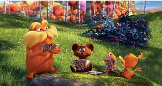 The Lorax plays cards with a Bar-ba-loot, a Humming-Fish and a Swomee-Swan.
