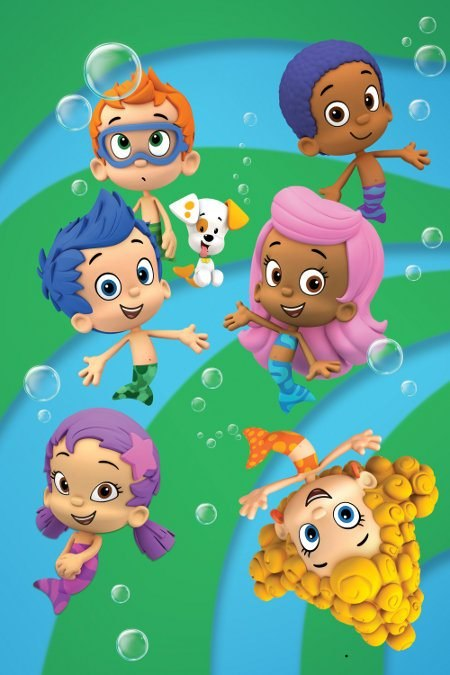 Pictured: (Top row) Nonny (Orange hair), Bubble puppy, Goby (Dark Blue hair), (middle row) Gil (Blue hair), Molly (Pink hair), (Bottom Row) Oona (Purple hair) and Deema (Yellow hair) in BUBBLE GUPPIES on Nickelodeon. Photo: Nickelodeon. ©2010 Viacom, Inte