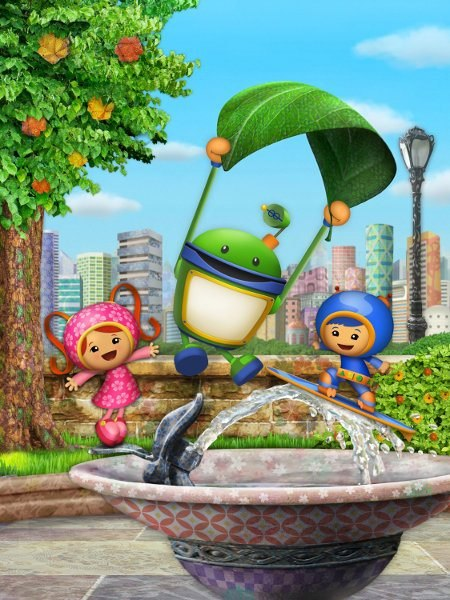 (L-R) Milli (Sophia Fox), Bot (Donovan Patton) and Geo (Ethan Kempner) from Nickelodeon's new interactive, math-themed series in TEAM UMIZOOMI on Nick Jr. Photo: Nickelodeon. ©2009 Viacom, International, Inc. All Rights Reserved.